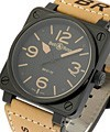 Bell & Ross BR 01-92 Automatic Heritage Carbon Finish Steel on Beige Strap with Black Dial